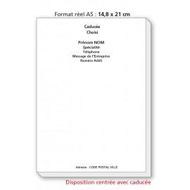 Bloc Têtes de lettres Ordonnances A5  / texte noir centré avec caducée