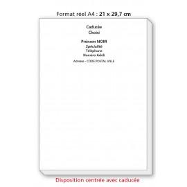 Bloc Têtes de lettres A4 Ordonnances / texte noir centré avec caducée