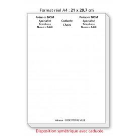 Bloc Têtes de lettres Ordonnances A4  / texte noir symétrique avec caducée