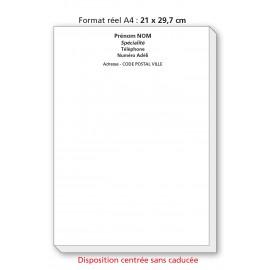 Bloc Têtes de lettres A4 Ordonnances / texte noir centré sans caducée