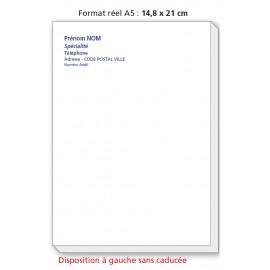 Bloc Têtes de lettres Ordonnances A5  / texte noir couleurs à  gauche sans caducée