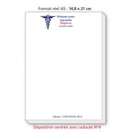Bloc Têtes de lettres Ordonnances A5  / texte en couleurs centré avec caducée