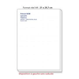 Bloc Têtes de lettres Ordonnances A4  / texte couleurs à  gauche sans caducée