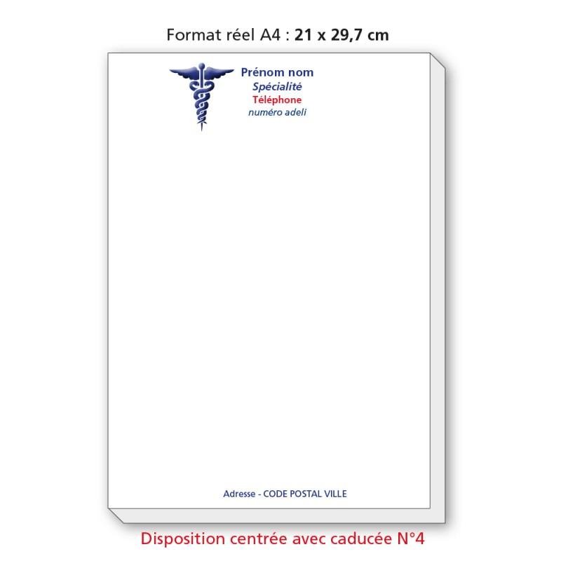 Bloc Têtes de lettres Ordonnances A4  / texte en couleurs centré avec caducée