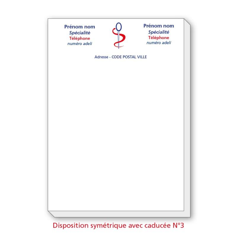 Bloc Têtes de lettres Ordonnances A4  / texte en couleurs symétrique sans caducée