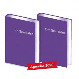 Lot de 2 Agendas Semestriels 2020 Violet
