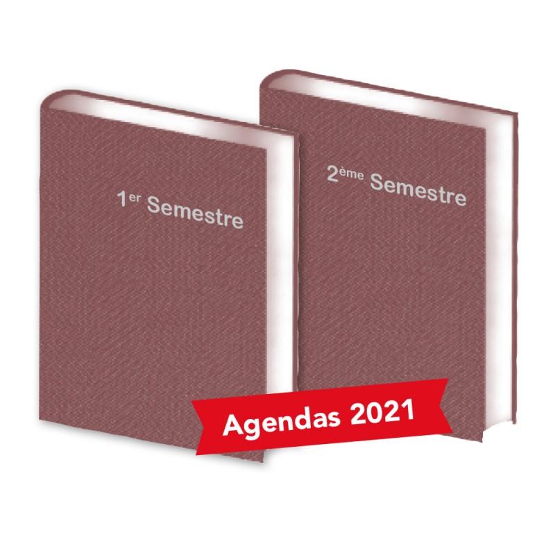Lot de  2 Agendas Semestriels  Tweed Bordeaux  2021