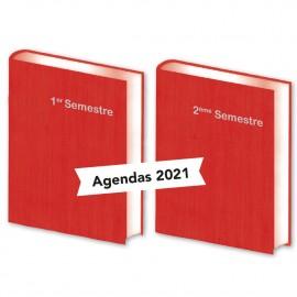 Lot de  2 Agendas Semestriels  Bois Rouge 2021
