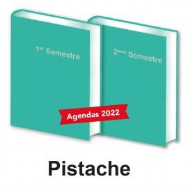 Lot de 2 Agendas Semestriels 2022 Pistache Réservation