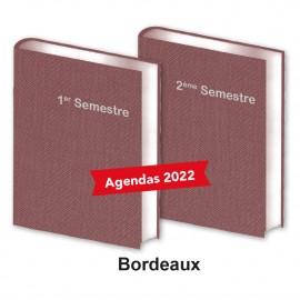 Lot de 2 Agendas Semestriels Tweed Bordeaux 2022 Réservation