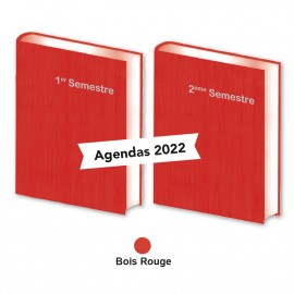 Lot de 2 Agendas Semestriels Rouge Bois 2022 Réservation