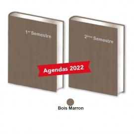 Lot de 2 Agendas Semestriels Marron Bois 2022 Réservation