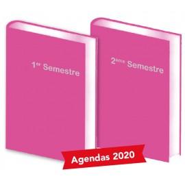 Lot de 2 Agendas semestriels Fushia 2020