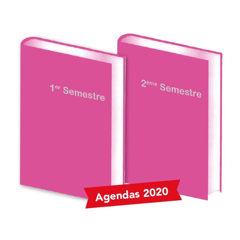 Lot de 2 Agendas Semestriels 2020 Fushia Réservation