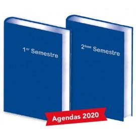 Lot de 2 Agendas Semestriels 2020 Bleu Réservation